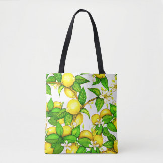 Lemon Print Handbag on white