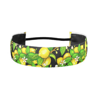 Lemon Print Headband on black