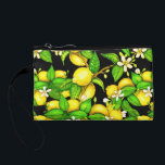 "Lemon Print Purse on black<br><div class=""desc"">Trendy fresh wristlet with all-over lemon tree print</div>"