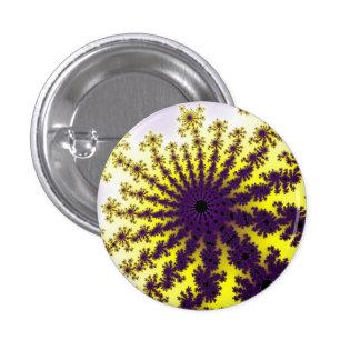 Lemon Purple Fractal Burst Small Round Button