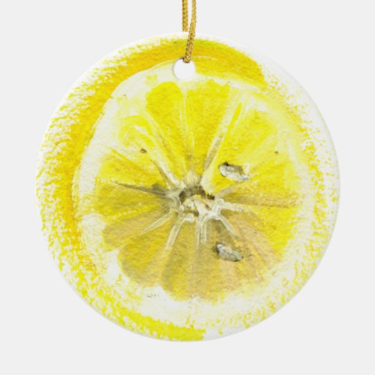 lemon sketch ceramic ornament