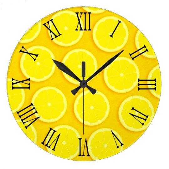 Lemon slice graphic yellow roman wall clock   Zazzle.com