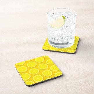 Lemon slice set of 6 yellow coasters