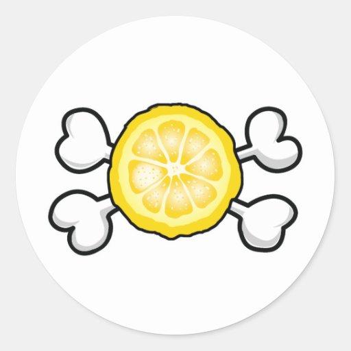 lemon slice Skull and Crossbones Classic Round Sticker