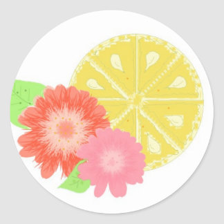 Lemon Slice with Flower Blossoms Round Sticker