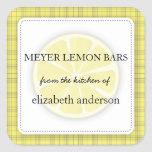 Lemon Slice Yellow Plaid From the Kitchen of Label Square Stickers