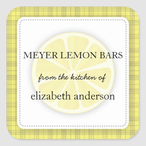 Lemon Slice Yellow Plaid From the Kitchen of Label Square Sticker