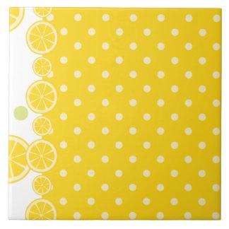 Lemon Slices and Yellow Polkadots Ceramic Tile