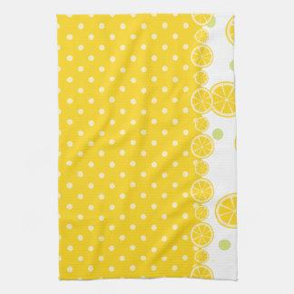 Lemon Slices and Yellow Polkadots Kitchen Towels