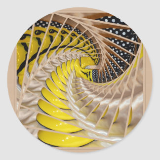Lemon Slices Spiral Staircase with Polka Dot Boots Round Sticker