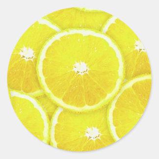 Lemon slices round sticker