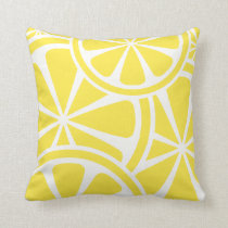 Lemon Slices Yellow Summer Throw Pillow