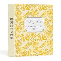 Lemon Squeeze   Personalized Recipe Mini Binder