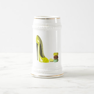 Lemon Stiletto Shoe and Macaroons Art Beer Stein