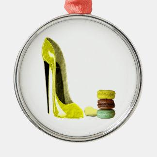 Lemon Stiletto Shoe and Macaroons Art Metal Ornament