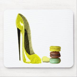 Lemon Stiletto Shoe and Macaroons Art Mousepad