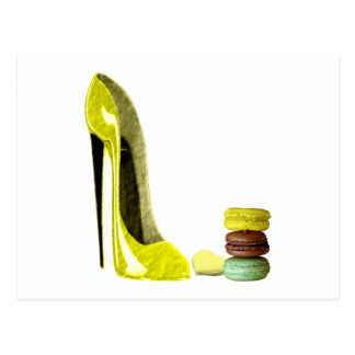 Lemon Stiletto Shoe and Macaroons Art Postcard