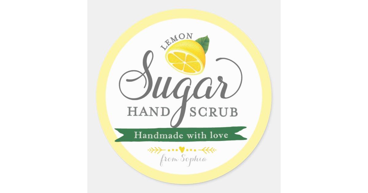 Lemon Sugar Scrub Labels Custom Round Mason Jar Classic