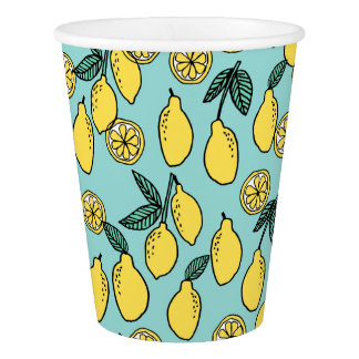 Lemon / Summer Fruit Citrus Food / Andrea Lauren Paper Cup