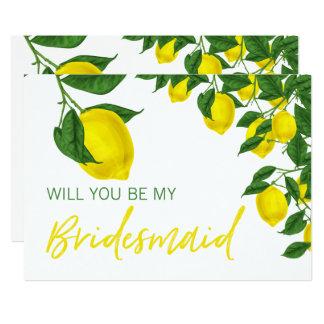 Lemon Summer Will you be my Bridesmaid Invitation