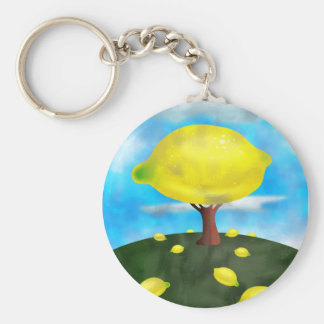 Lemon Tree Basic Round Button Keychain
