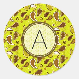 Lemon Tree Paisley Pattern with Monogram Classic Round Sticker