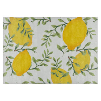 Lemon Tree Print Glass Cutting Board