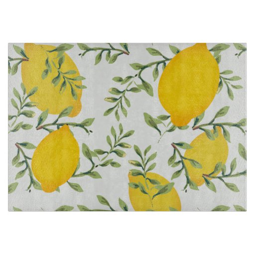Lemon Print Glass Cutting Board