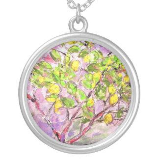 lemon tree round pendant necklace