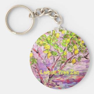 Lemon Tree Zen Basic Round Button Keychain