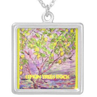 lemon trees rock square pendant necklace