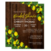 Lemon Watercolor Rustic Wood Bridal Shower Invitation