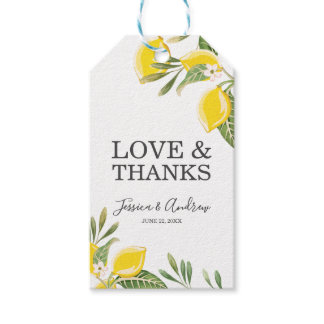 Lemon Wedding Favor Gift Tags Citrus Summer Green