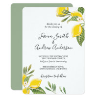 Lemon Wedding Invitation Bohemian Flowers Citrus