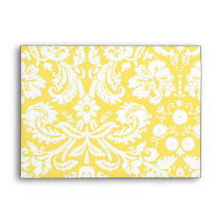 Lemon White Damask Wedding Envelope