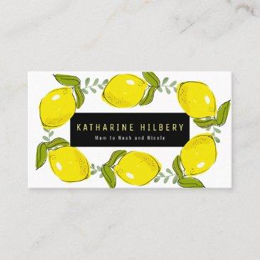 Lemon Wreath White Yellow Mommy Business Card