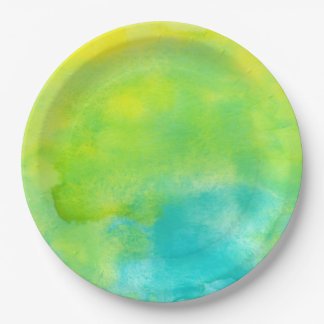Lemon Yellow and Turquoise Blue Watercolor Paper Plate