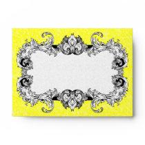 Lemon Yellow and White A6 Gothic Baroque Envelopes