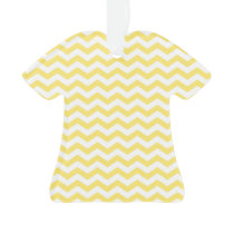 Lemon Yellow and White Chevron Pattern Ornament