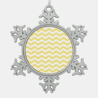 Lemon Yellow and White Chevron Pattern Snowflake Pewter Christmas Ornament