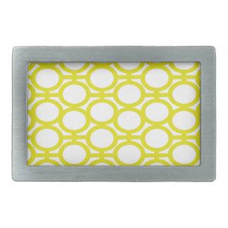Lemon Yellow and White Eyelets Rectangular Belt Buckle