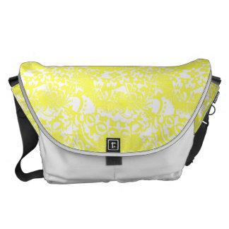 Lemon Yellow and White Floral Print Messenger Bag