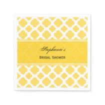 Lemon Yellow and White Quatrefoil Pattern Bridal Napkin