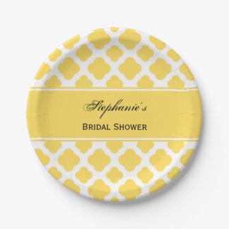 Lemon Yellow and White Quatrefoil Pattern Bridal Paper Plate
