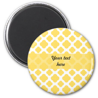 Lemon Yellow and White Quatrefoil Pattern 2 Inch Round Magnet