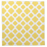 Lemon Yellow and White Quatrefoil Pattern Cloth Napkins