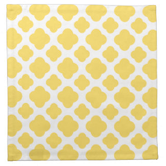 Lemon Yellow and White Quatrefoil Pattern Napkins