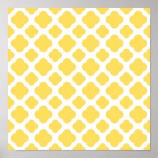 Lemon Yellow and White Quatrefoil Pattern Poster