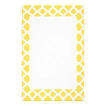 Lemon Yellow and White Quatrefoil Pattern Stationery