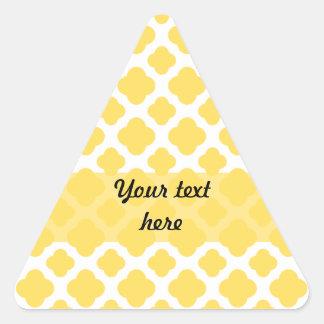Lemon Yellow and White Quatrefoil Pattern Triangle Sticker